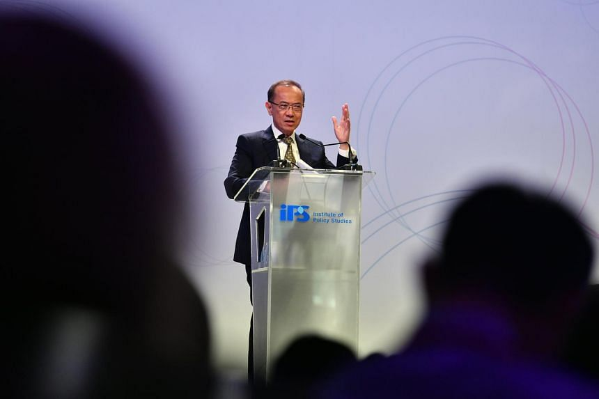 Former foreign minister George Yeo speaks at the Singapore Perspectives 2019 conference organised by the Institute of Policy Studies, on Jan 28, 2019.