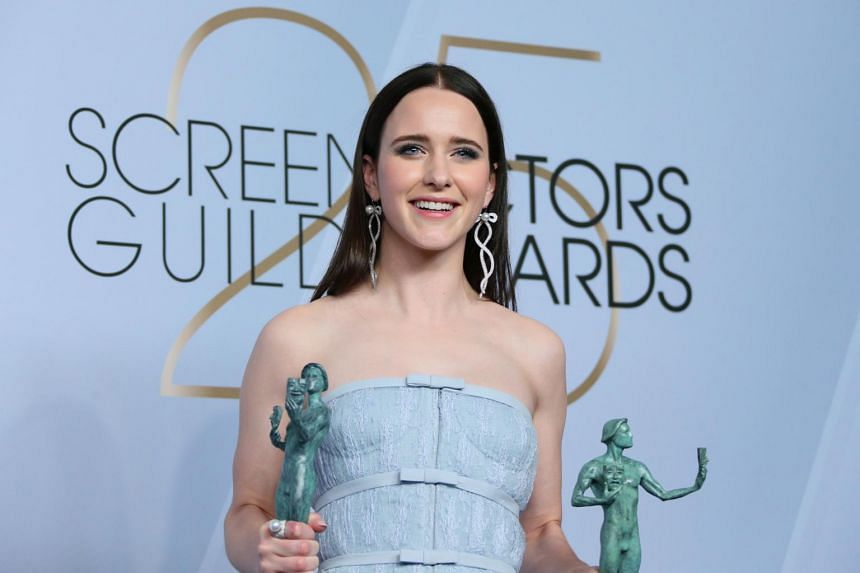 Actress Rachel Brosnahan won best actress for her role in The Marvelous Mrs Maisel, at the 25th Annual Screen Actors Guild Awards at the Shrine Auditorium in Los Angeles on Jan 27, 2019.