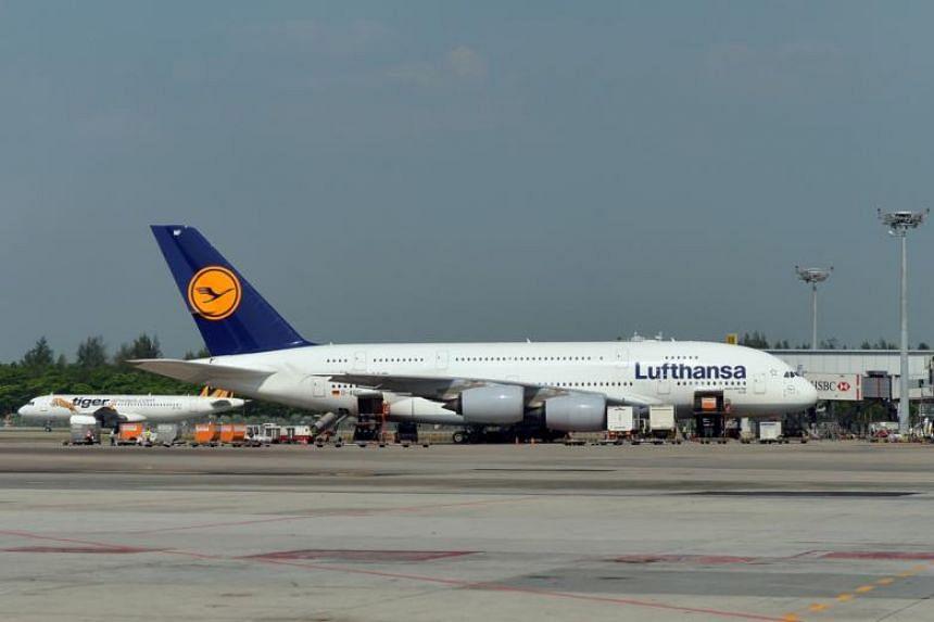 File photo of a Lufthansa aircraft at Changi Airport.