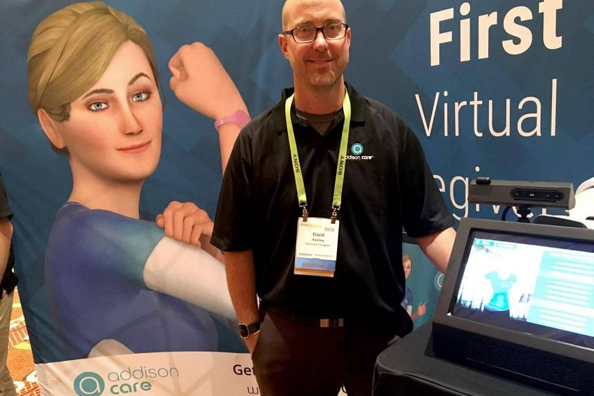 David Keeley of SameDay Security debuts the Addison Virtual Caregiver system at the Consumer Electronics Show in Las Vegas, on Jan 8, 2019.