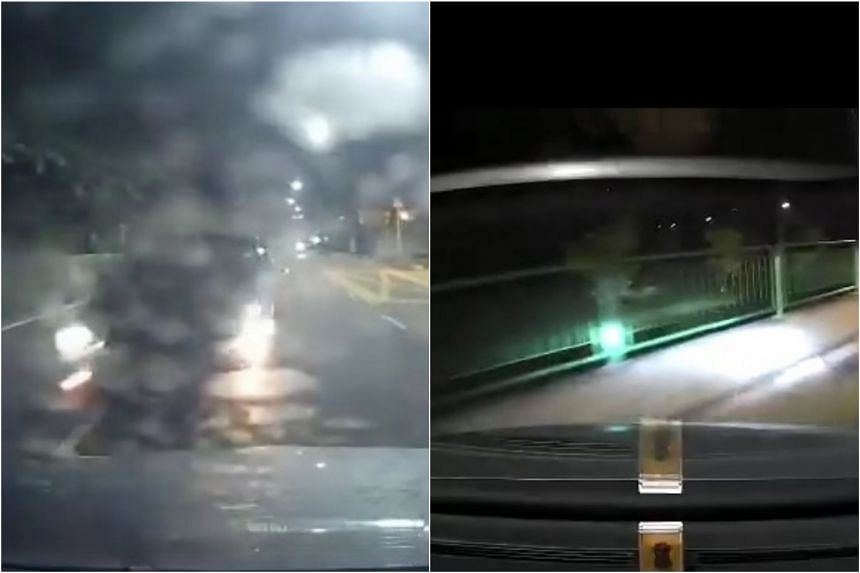 Videos taken from the car's back camera (left) and front camera show that it was hit in the rear before it was hurtled towards the railing.