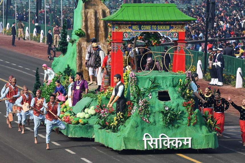 A float of the Indian state of Sikkim during a rehearsal for the Indian Republic Day parade in New Delhi, on Jan 23, 2019.