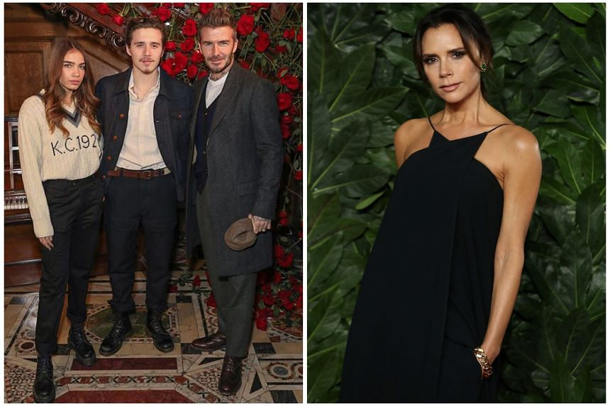 Brooklyn Beckham with his father David and model Hana Cross (left). Some people think she looks like his mother, Victoria (right).