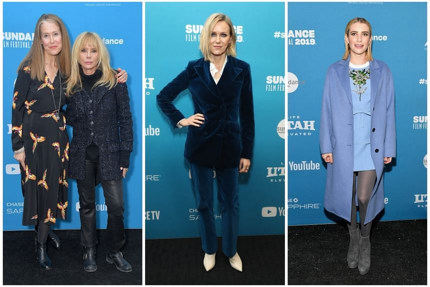 The movie Untouchable, about film mogul Harvey Weinstein who is charged with sexual aggression, is directed by Ursula Macfarlane (far left, with actress Rosanna Arquette, one of the alleged victims). Also at the Sundance Film Festival were Naomi Watts (mi