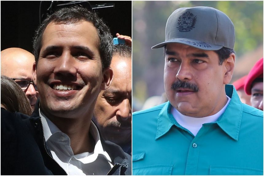 Self-proclaimed interim President of Venezuela Juan Guaido (left) and elected leader Nicolas Maduro are currently locked in a struggle, with public protests calling for free elections.