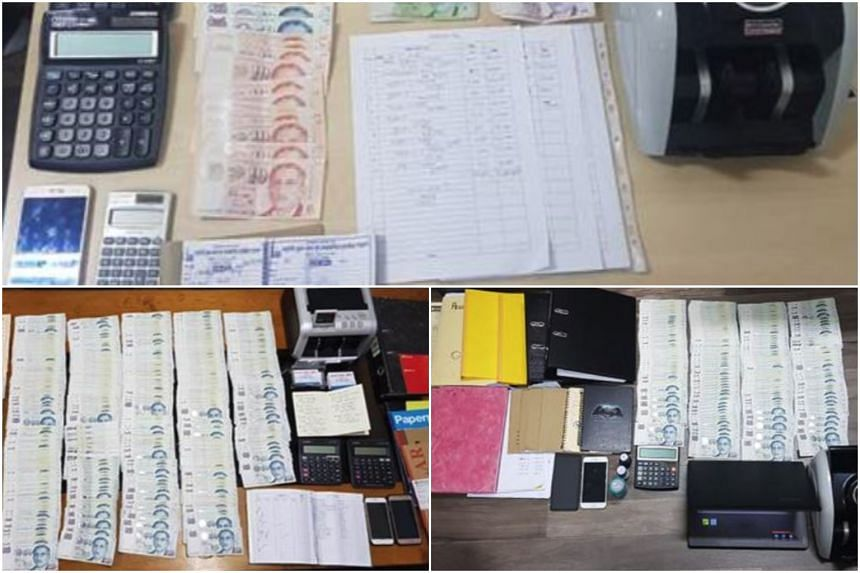 More than $70,000 in cash, a laptop, several handphones, currency counting machines and remittance transaction records were seized as case exhibits.