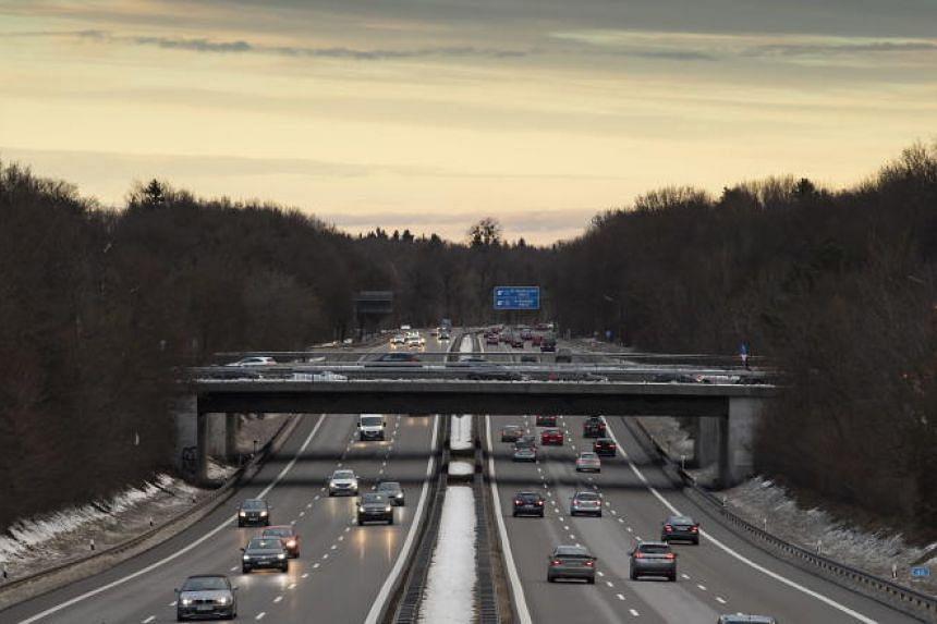 Traffic on the German motorway A95 near Munich, Bavaria, Germany, on Jan 27, 2019.