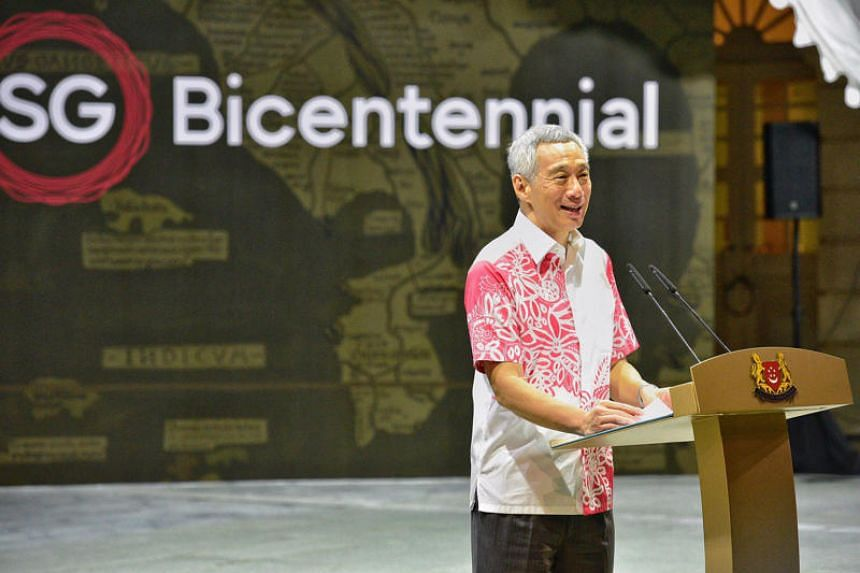 Prime Minister Lee Hsien Loong speaking at the official launch of the Singapore Bicentennial, on Jan 28, 2019.