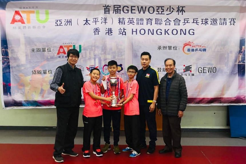 (From left) Yang Ze Yi, Jayden Tan, Nathaniel Chua Jun Kai and Coach Hu Yawen at the 2019 Asia Youth Invitational Table Tennis Tournament.