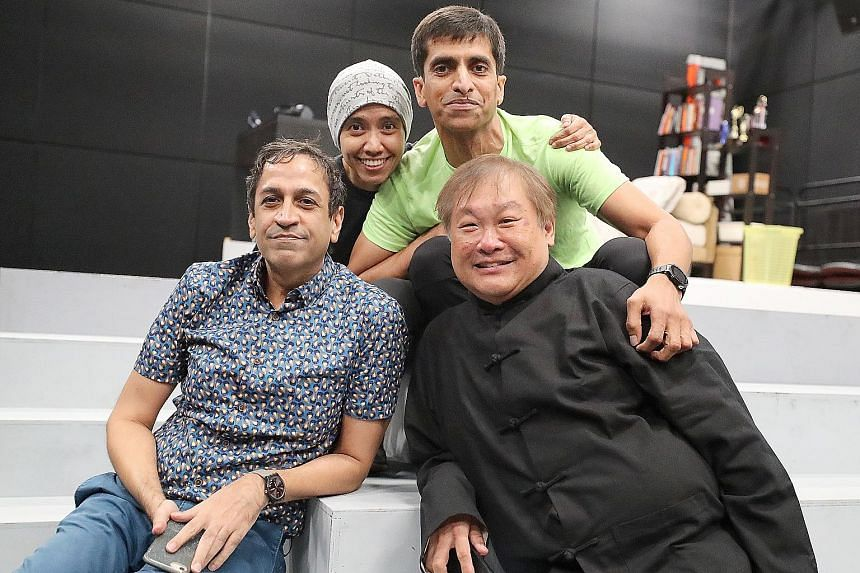 Written by playwright Haresh Sharma and directed by Alvin Tan (both foreground), Off Centre will star Sakinah Dollah and Abdulattif Abdullah (both background), who married each other after the 1993 production.