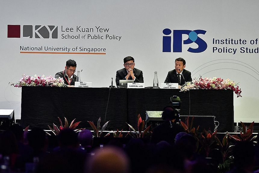 From left: Economic Development Board managing director Chng Kai Fong; moderator Gabriel Lim, permanent secretary at the Ministry of Communications and Information; and CapitaLand group chief executive Lee Chee Koon at a panel discussion on Singapore