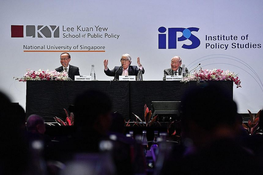 (From left) Former foreign minister George Yeo, Ambassador-at-large Tommy Koh and historian Wang Gungwu at a panel discussion at the Singapore Perspectives 2019 conference yesterday. They talked about Singapore's place in the world, focusing on the U