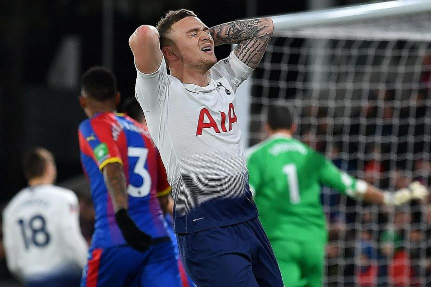 Tottenham defender Kieran Trippier is disappointed after wasting a goalscoring chance against Crystal Palace in their 2-0 FA Cup fourth-round loss on Sunday.