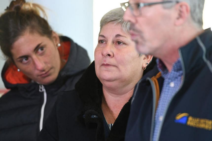 Emiliano Sala's mother, Mercedes (centre), and his sister Romina listen to David Mearns, an operations expert of the deep water search and recovery during a press conference at Guernsey airport on Jan 28, 2019.