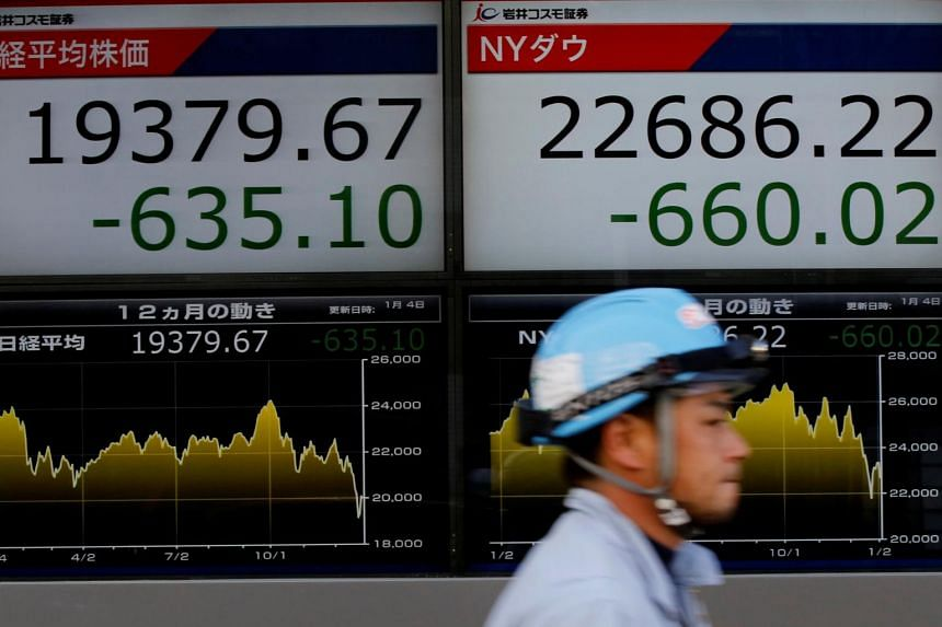 A man walks past electronic boards showing Nikkei average (left) and the Dow Jones Industrial Average outside a brokerage in Tokyo, Japan, on Jan 4, 2019.