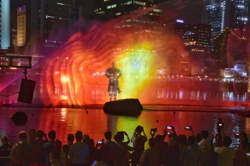A multimedia show called Bridges Of Time being staged at last night's bicentennial launch at the Singapore River, featuring the story of a universal traveller who sails through time and space to reach a mythical island in the East.