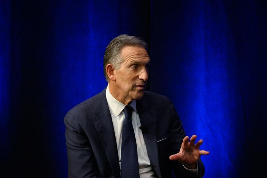 Former CEO of Starbucks, Howard Schultz, speaking during the presentation of his book From The Ground Up on Jan 28, 2019.