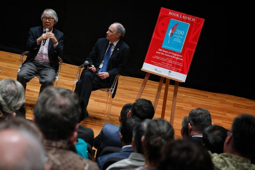 Ambassador-at-Large Tommy Koh (left) and British High Commissioner to Singapore Scott Wightman at a panel discussion at the launch of the bicentennial book 200 Years Of Singapore And The United Kingdom.