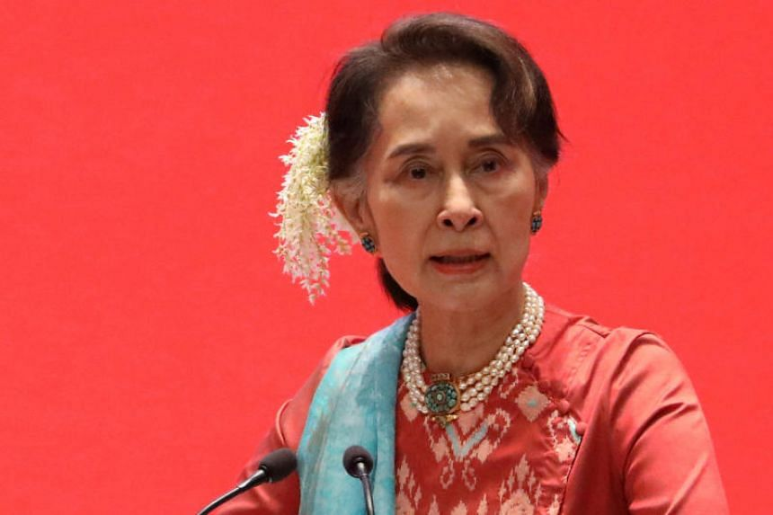 Myanmar State Counsellor Aung San Suu Kyi attending an event in Naypitaw, Myanmar, on Jan 28, 2019.