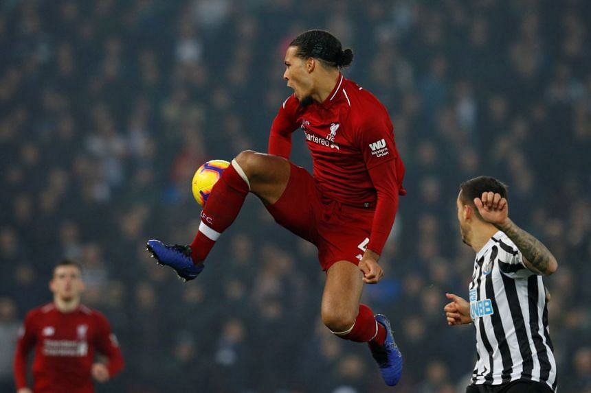 Liverpool's Virgil van Dijk in action.