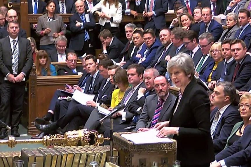 Footage from the UK Parliament's Parliamentary Recording Unit showing British Prime Minister Theresa May speaking at the start of a debate in the House of Commons in London yesterday. She had called on Britain's lawmakers to send a message to the EU