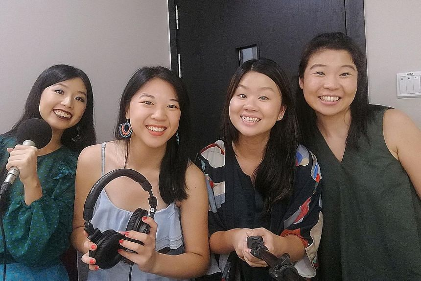 Life writers (from left) Olivia Ho, Yip Wai Yee, Eunice Quek and Melissa Sim talk about interactive art at the Digimuse exhibition at the National Museum of Singapore.
