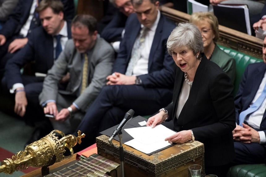 British Prime Minister Theresa May talks about Brexit in Parliament on Jan 29, 2019.