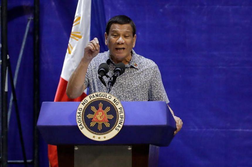 Philippine President Rodrigo Duterte gestures as he speaks during a summit in Manila, on Jan 23, 2019.