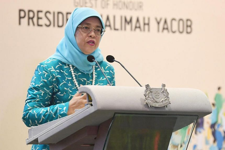 President Halimah Yacob speaking at the opening ceremony of Singapore Mental Health Conference 2019 and launch of the President's Challenge 2019.