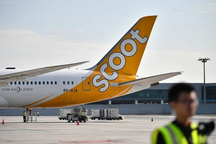 A file photo showing a Scoot aeroplane at Changi Airport.