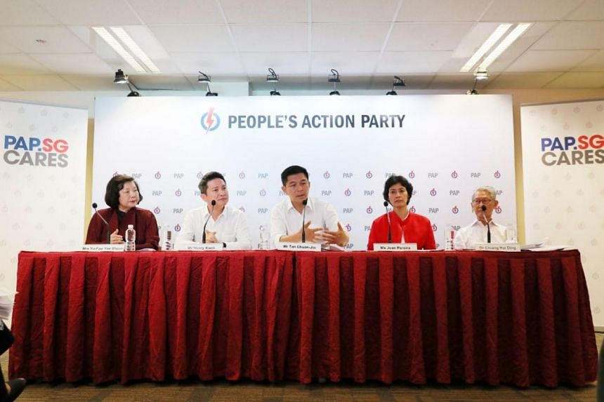 (From left) Members of the People's Action Party Seniors Group members Mrs Yu-Foo Yee Shoon, Mr Henry Kwek, Mr Tan Chuan-Jin, Ms Joan Pereira, Dr Chiang Hai Ding at a press conference at the PAP headquarters on Jan 30, 2019.