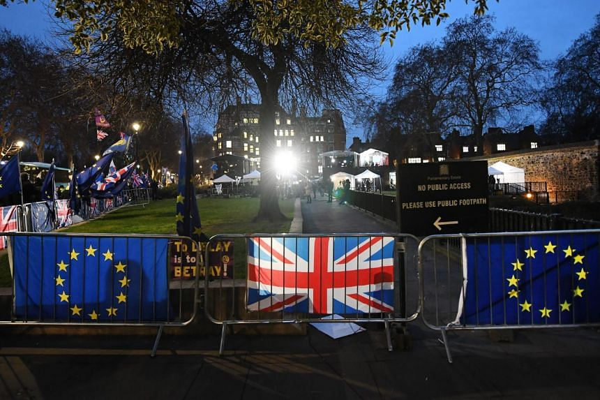 Demonstrations outside parliament on Jan 29, 2019, ahead of the vote on amendments to the Brexit Bill.