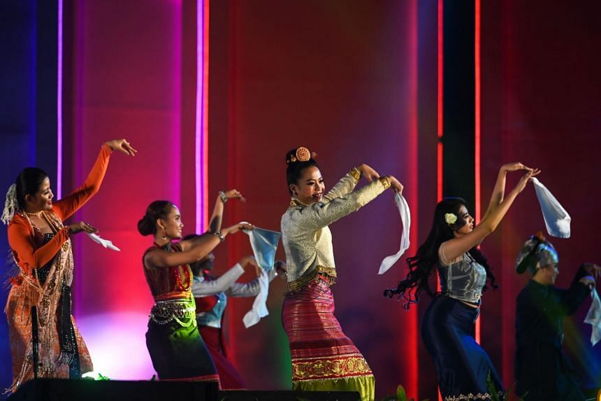 Candidates participate in the Miss Ethnic Myanmar 2019 contest during the Myanmar Ethnics Culture festival in Yangon on Jan 29, 2019.