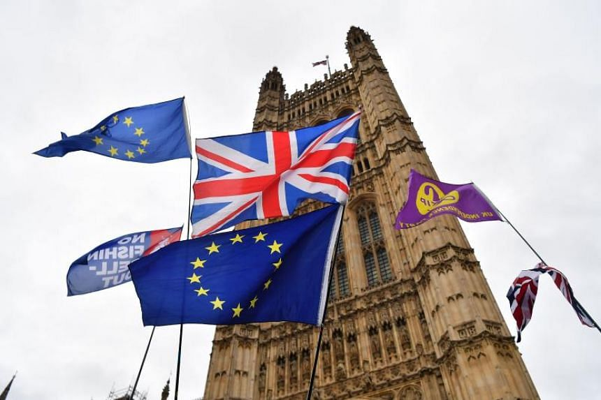 Union flags and European Union flags flutter in the breeze beside Ukip and Fishing Rights flags in front of the Victoria Tower in central London on Jan 29, 2019.