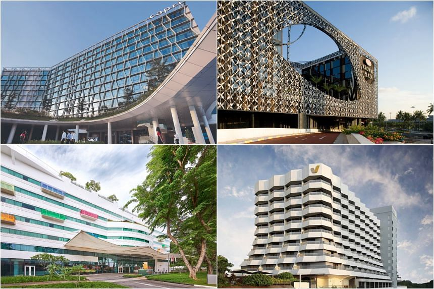The four hotels are: (clockwise from top left) Capri by Fraser Changi City Singapore, Crowne Plaza Changi Airport Hotel, Village Hotel Katong and Village Hotel Changi.