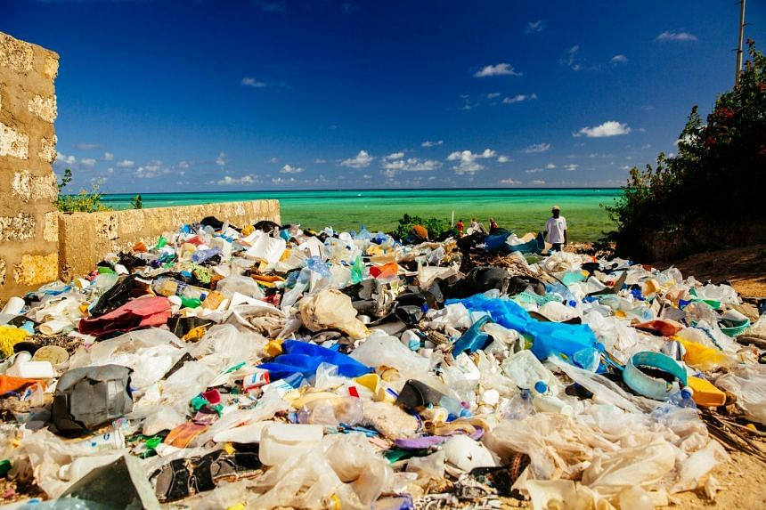 Plastic litter washed up on Watamu beach, Kenya. According to WWF, 80 per cent of plastics in the ocean are believed to come from land sources.