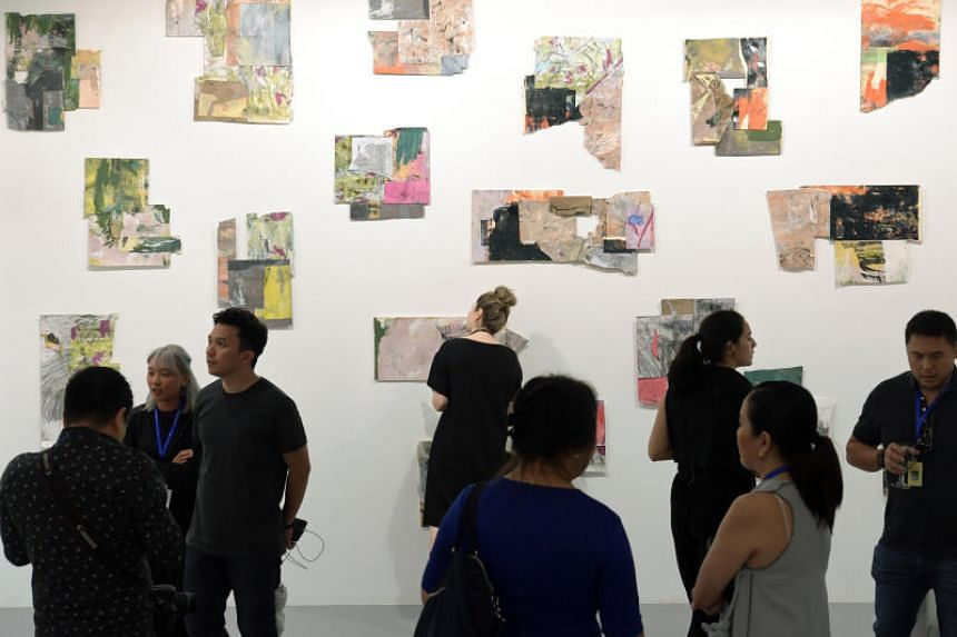 Visitors at the preview of the S.E.A. Focus art fair on Jan 24, 2019.
