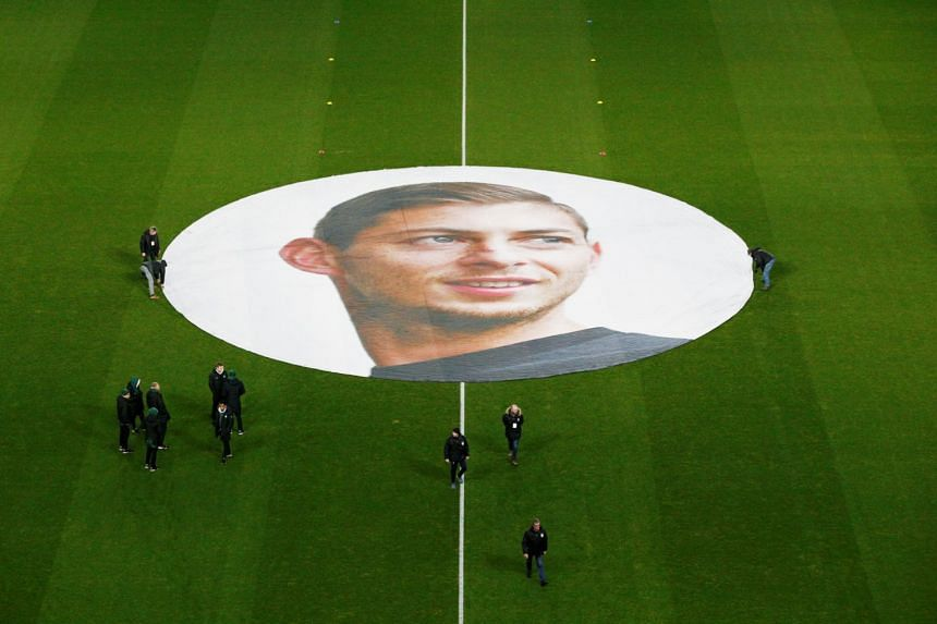 A view of the tribute inside the Nantes stadium for Emiliano Sala (pictured).