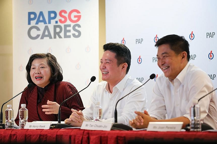 PAP.SG chairman and Speaker of Parliament Tan Chuan-Jin (right) at yesterday's press conference with vice-chairman and MP Henry Kwek and Mrs Yu-Foo Yee Shoon, PAP.SG member and a former minister of state.