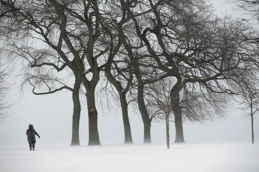 The shores of Lake Michigan near Montrose Beach in Chicago was a sea of white after a blast of Arctic air from the polar vortex brought dangerous, bone-chilling cold to a wide swathe of the United States on Tuesday. The Midwest was the hardest-hit by