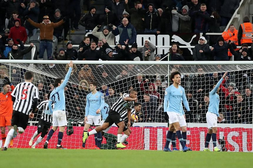 Salomon Rondon wheeling away after equalising for Newcastle against Manchester City in their Premier League game at St James' Park on Tuesday. Matt Ritchie's penalty gave the Magpies a shock win over the champions.
