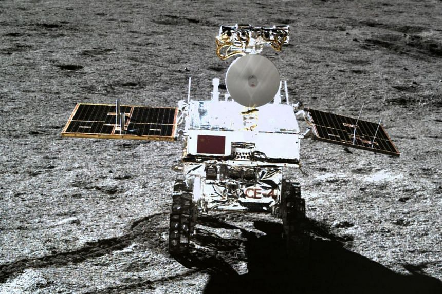 The Yutu-2 moon rover, taken by the Chang'e-4 lunar probe on the far side of the moon, seen in a photo released on Jan 11, 2019.
