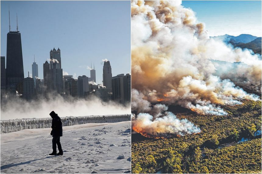While officials warned of almost instant frostbite on Chicago's coldest day ever, wildfires raged in Australia and temperatures reached nearly 47 deg C.