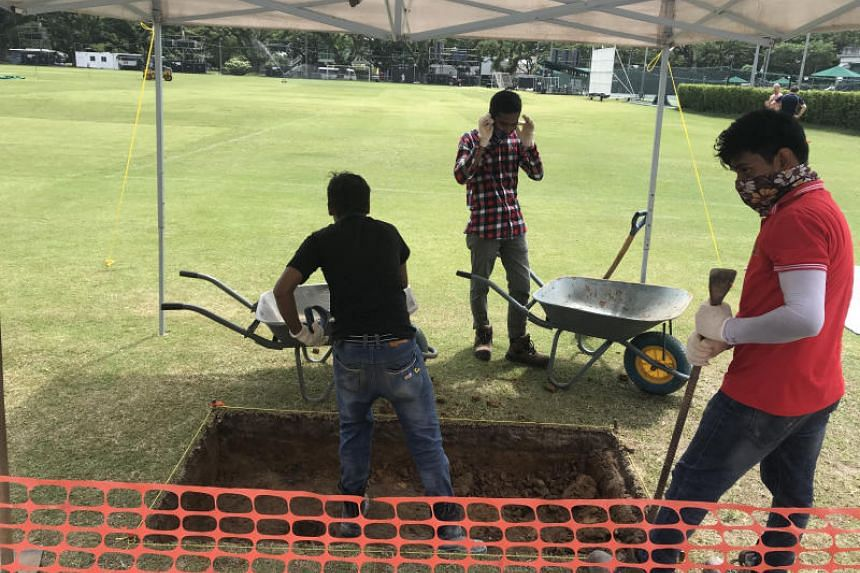 The ongoing archaeological dig at the Padang which was set up on Jan 31, 2019.