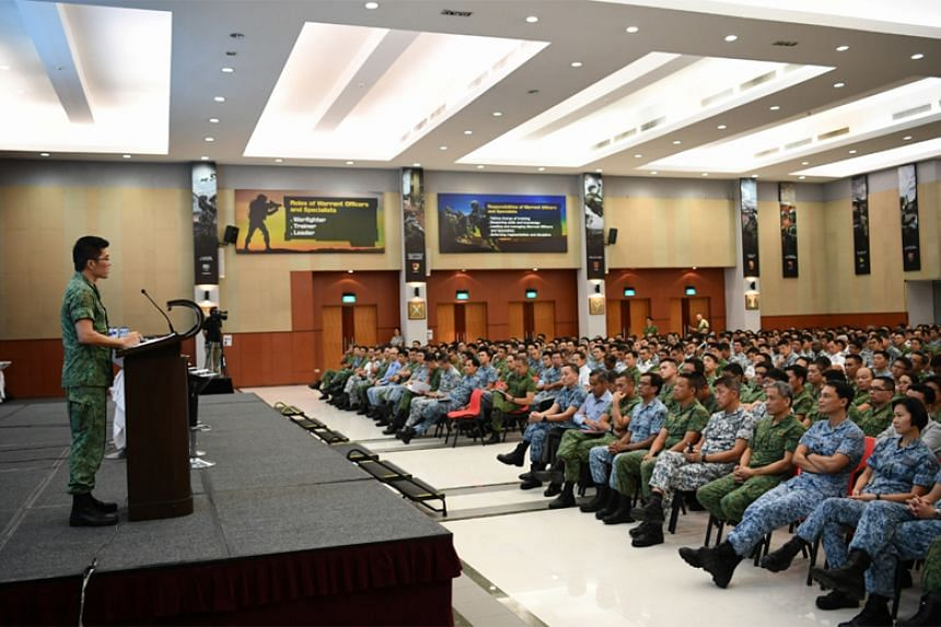 Active and Operationally Ready National Service commanders at the SAF Command Call by Chief of Defence Force Melvyn Ong.