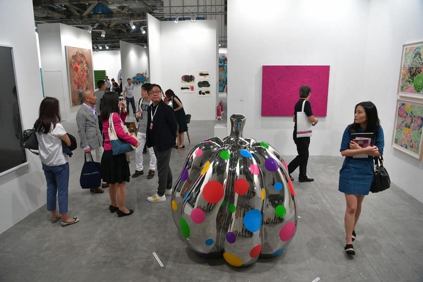 Visitors at Art Stage Singapore at Marina Bay Sands Expo and Convention Centre in January 2017.