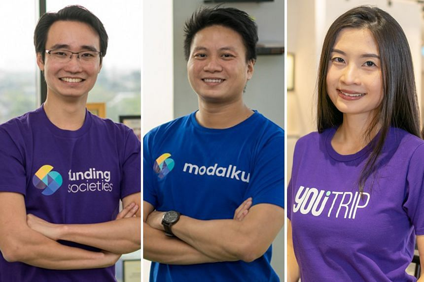 Crowd-investing website Funding Societies co-founders Kelvin Teo (left) and Reynold Wijaya, and multi-currency mobile wallet YouTrip co-founder and chief executive Caecilia Chu.