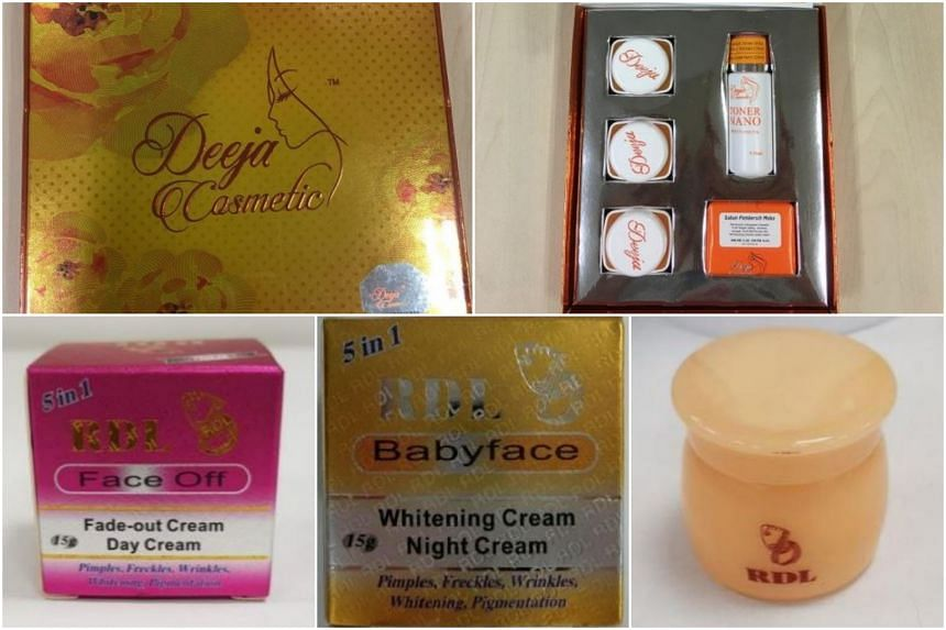 Top: The Deeja Cosmetic creams, which were found to contain hydroquinone and very high levels of mercury. Above: The RDL creams, which contained very high levels of mercury