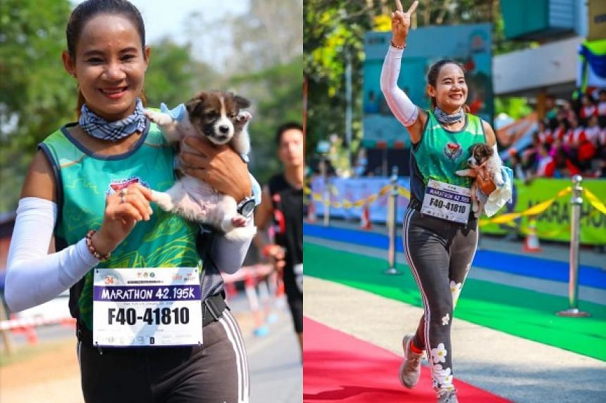 Khemjira Klongsanun was 12km into her run at the Chombueng marathon in western Thailand when she spotted a puppy by the road on Jan 20, 2019.