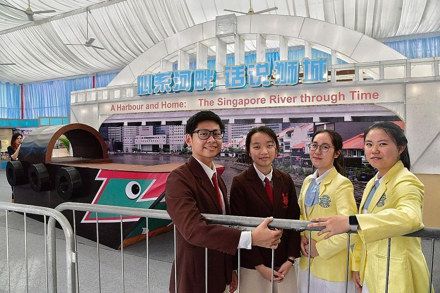 Four of the more than 50 volunteer youth ambassadors who will be guides at the A Harbour And Home: The Singapore River Through Time exhibition, which is one of the main features of River Hongbao this year: (from left) Chen Jian and Selina Lim Yi Hui